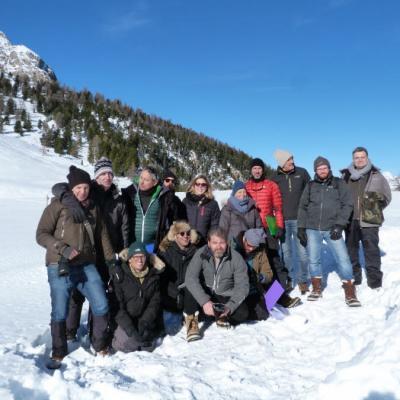 Une partie de l'équipe de tournage en repérage à Cervières Izoard