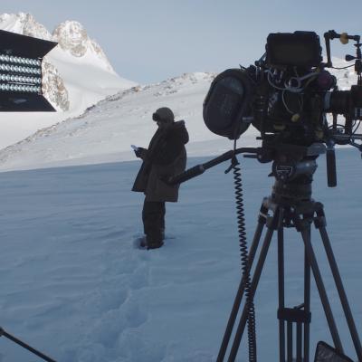 Le projecteur THELIGHT 4LIGHT sur le tournage à Chamonix