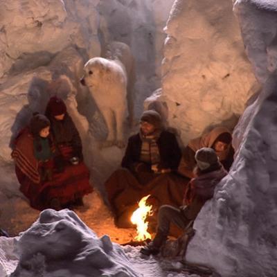 Tournage scène du camp dans le glacier