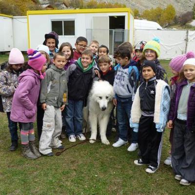 Les écoliers de Modane sur le tournage