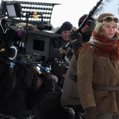 Margaux Châtelier sur le tournage à Chamonix