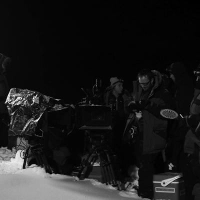 Tournage de nuit, scène Belle contre les loups