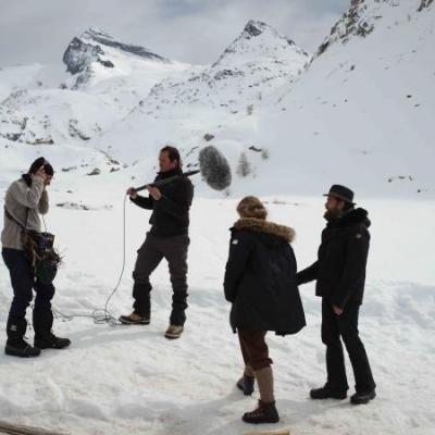 Au travail sur le plateau avec la réalisateur