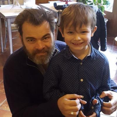 Clovis Cornillac, réalisateur de Belle et Sébastien 3, avec Tomy, 6 ans