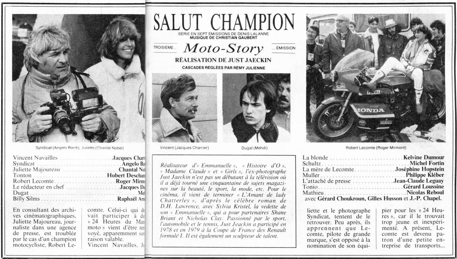 Salut champion - Moto Story © Base de Données de films français avec images